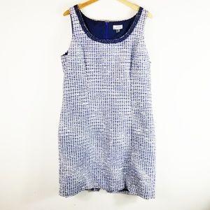 Tahari Womens Blue Tweed Sleeveless Party Dress 14